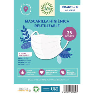 Mascarilla Algodon Organico reutilizable INFANTIL/M Sol Natural