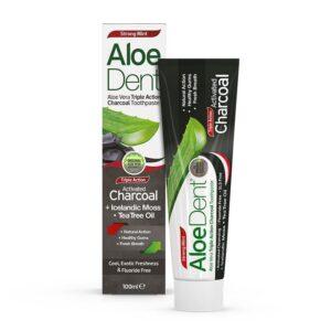 Pasta dentifrica Aloe, Carbon activo, Arbol del te y menta 100ml Aloe Dent