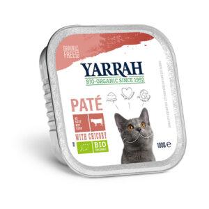 Pate para gatos con ternera y pollo tarrina bio 100g Yarrah