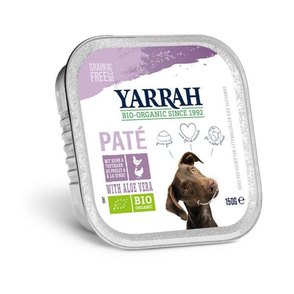 Pate para perros con pollo y pavo tarrina bio 150g Yarrah
