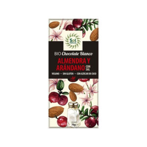 Tableta chocolate blanco almendra, arándano y sal bio 70g Sol Natural