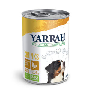 Trocitos de pollo con ortiga y tomate para perros bio 405 g Yarrah