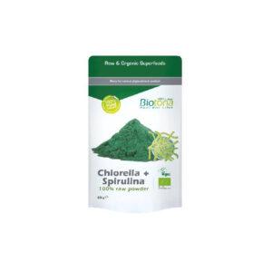 Chlorella y espirulina raw powder superfood bio 200g Biotona